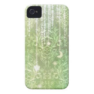 Damask Wildflowers, Madam Valeska in Green iPhone 4 Cases