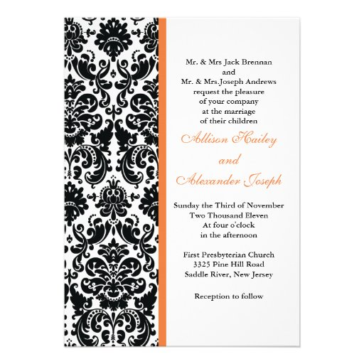 Damask with Coral Rose accent Wedding Invitation