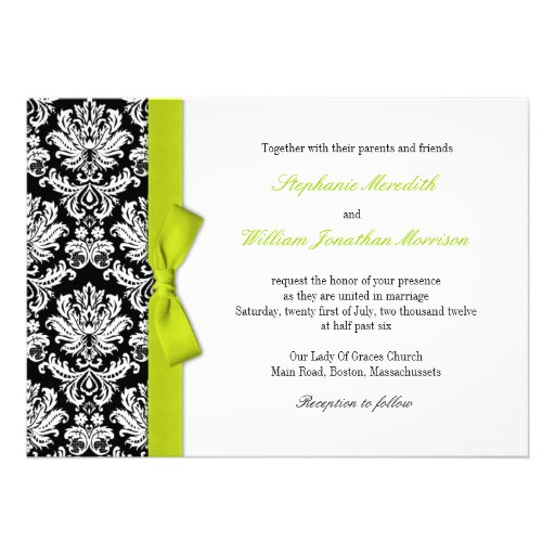 Damask With Lime Bow Wedding Invitation