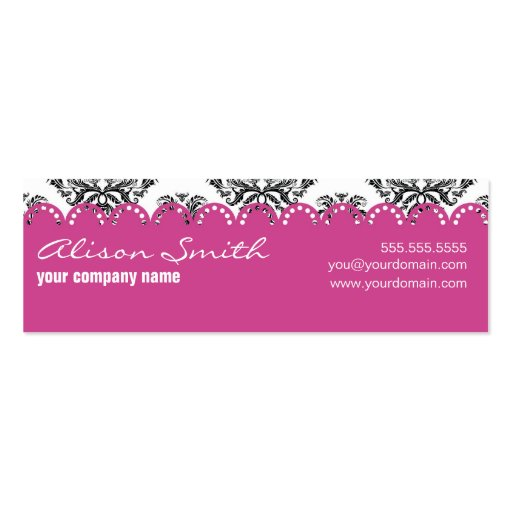 Damask with pink ribbon business card template