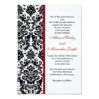 Damask with red accent Wedding Invitation