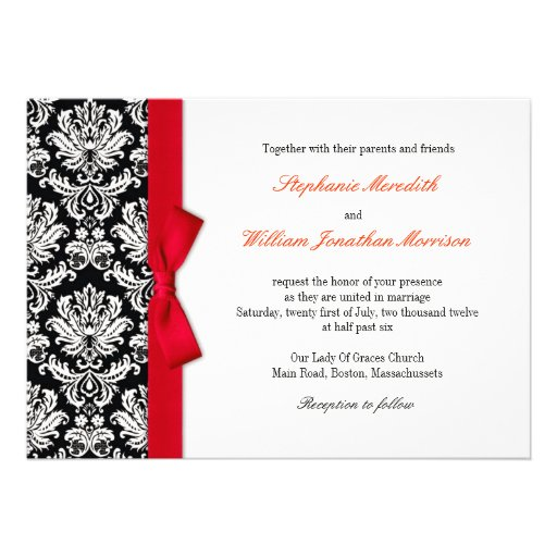 Damask With Red Bow Wedding Invitation