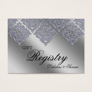 Damask Xmas Gift Registration Card Sparkle