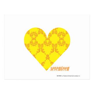 Damask Yellow-Orange 4 Postcard