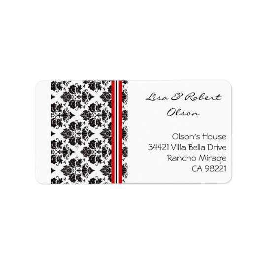 Damasks in elegante red Address Label