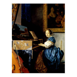 Dame on spinet by Johannes Vermeer Postcard