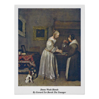 Dame Wash Hands By Gerard Ter Borch The Younger Poster