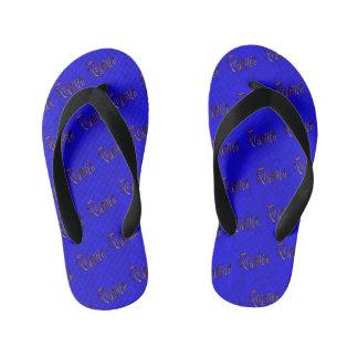 Damien Name Logo On Hot Blue Mosaic, Kid's Thongs