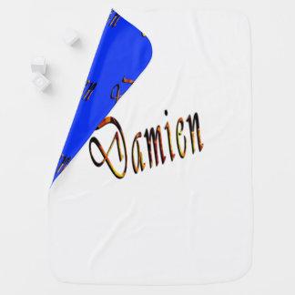 Damien, Name, Logo Reversible Baby Blanket. Baby Blanket
