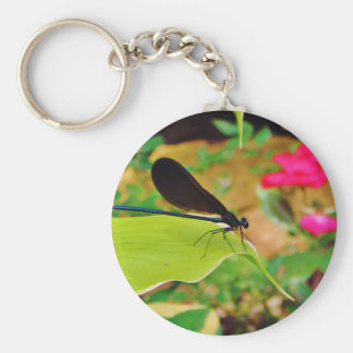 Damselfly and Rose Key Ring