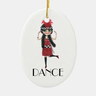 Dance 1920s Costume Big Eye Flapper Girl Ceramic Ornament