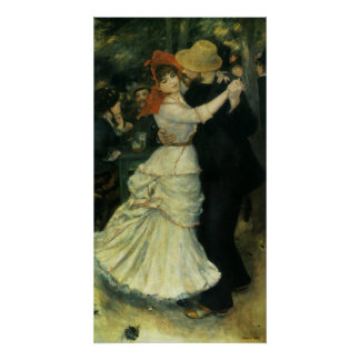 Dance at Bougival by Pierre Renoir, Vintage Art Poster
