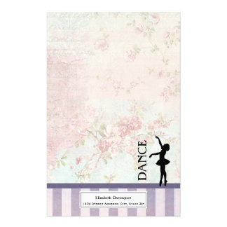 Dance - Ballerina Silhouette on Vintage Background Personalized Stationery