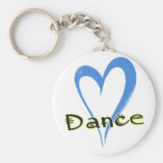 Dance blue heart basic round button key ring