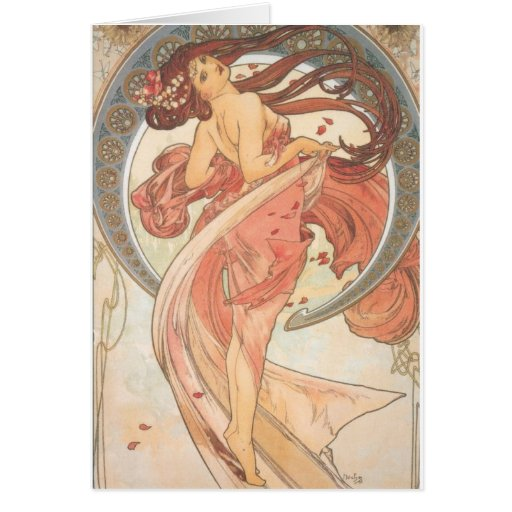 Dance by Mucha Greeting Cards