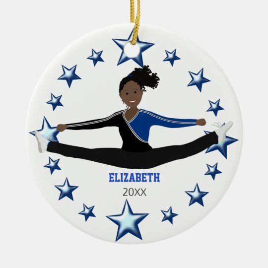 Dance Cheer African American Blue And Black Ceramic Ornament