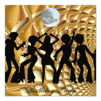 Dance Disco Birthday Party Gold Invitation