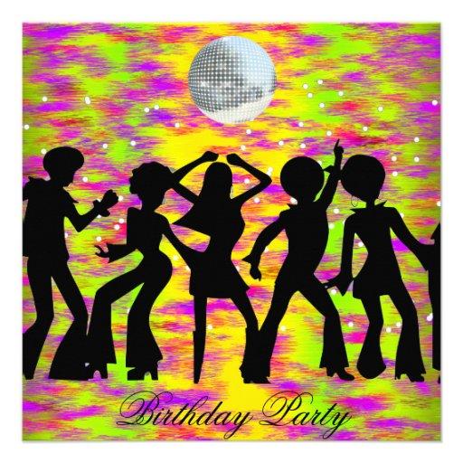 Dance Disco Birthday Party Invitation Teal 5 25 Quot Square Invitation Card Zazzle