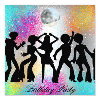Dance Disco Birthday Party psychodelic 13 Cm X 13 Cm Square Invitation Card
