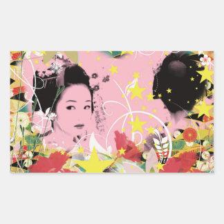 Dance eightfold dance of flower rectangular sticker