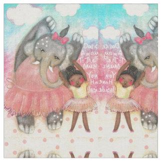 Dance, elephant, ballerina,art,fabric,kids,child fabric