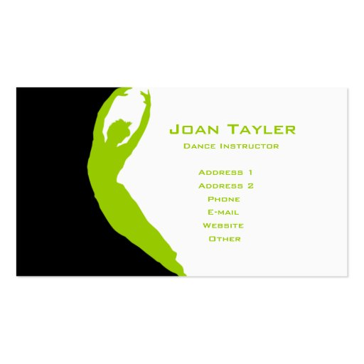 Dance Instructor Double-Sided Standard Business Cards (Pack Of 100)