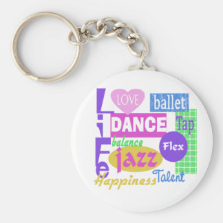 Dance Mix Basic Round Button Key Ring