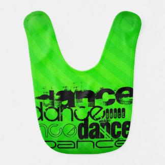 Dance; Neon Green Stripes Baby Bibs