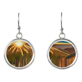 Dance of the Cacti Southwest Abstract Art Earrings