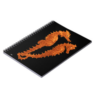Dance Of The Seahorses (Orange) Spiral Note Books