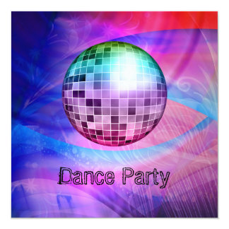 Dance Party Event Pink Blue Abstract Mirrorball Personalized Announcement