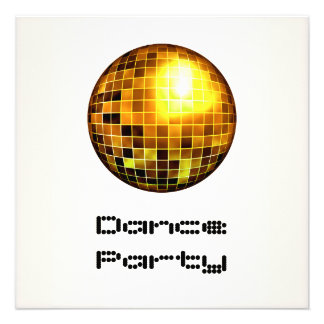 Dance Party Event White Gold Mirrorball Custom Announcement