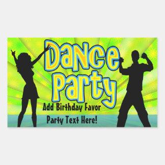 Dance Party, Neon Green/Black Rectangular Sticker