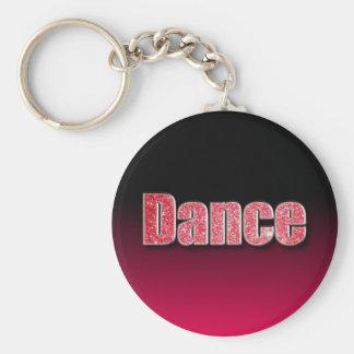 Dance Pink Glitter Basic Round Button Key Ring