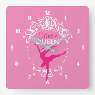 Dance Queen Ballet Dancing Theme Cute Square Wall Clock