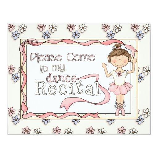 """Dance Recital Invitation 4.25"""" X 5.5"""" Invitation Card"""