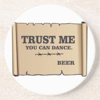 dance says beer drink coasters