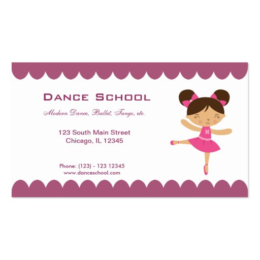 Dance school pack of standard business cards zazzle for Dance business cards