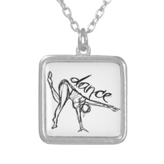 Dance Sketch Silver Plated Necklace