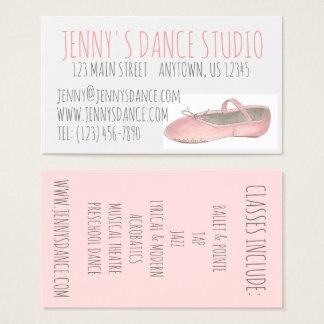 Dance Studio Teacher Pink Ballet Shoe Ballerina Business Card