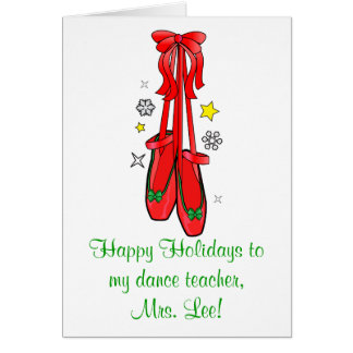 Dance Teacher Christmas Ballet Shoes Card