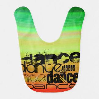 Dance; Vibrant Green, Orange, & Yellow Baby Bibs