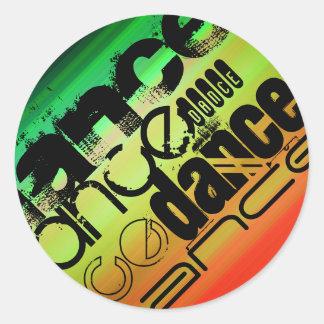 Dance; Vibrant Green, Orange, & Yellow Round Sticker