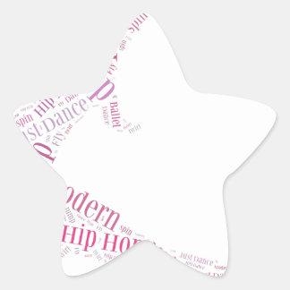 Dance Word Cloud Pink Star Sticker