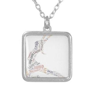 Dance Word Cloud Square Pendant Necklace