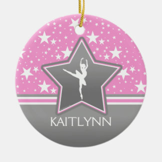 Dancer Among the Stars in Pink with YOUR NAME Ceramic Ornament