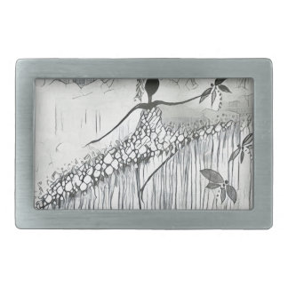 DANCER AND DRAGONFLIES 11 RECTANGULAR BELT BUCKLE
