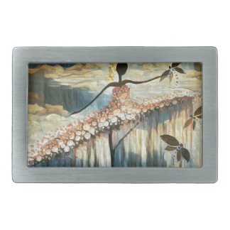 DANCER AND DRAGONFLIES 14 RECTANGULAR BELT BUCKLE