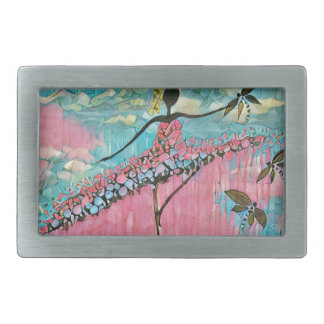 DANCER AND DRAGONFLIES 15 RECTANGULAR BELT BUCKLE