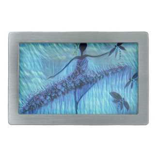DANCER AND DRAGONFLIES 24 RECTANGULAR BELT BUCKLE